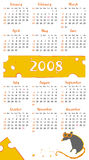 2008 cheese rat calendar. Colorful calendar for 2008. With rat character - symbol of the year. With Space reserved for your logo and text. (starts Sunday Stock Illustration