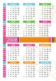 2008 colorful calendar. Stylish colorful calendar for 2008. With Space reserved for your logo and text Royalty Free Illustration