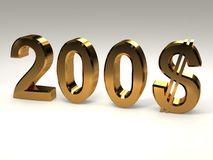 2008 with dollar. 2008 and dollar on white background Stock Photo