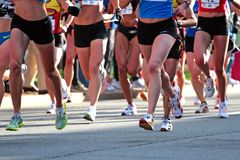 2008 ensayos olímpicos del maratón de las mujeres de los E.E.U.U., Boston Fotos de archivo