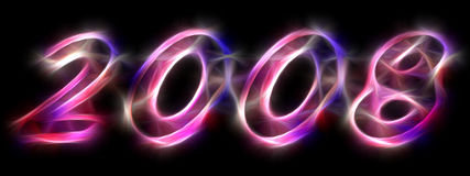 2008 - exotic light letters. 2008 written in exotic light effect letters on a black background stock illustration