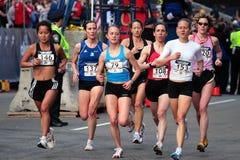2008 experimentações olímpicas da maratona das mulheres dos E.U., Boston Imagem de Stock Royalty Free