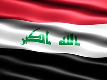 2008 flag of Iraq. Computer generated illustration of the 2008 flag of Iraq with silky appearance and waves royalty free illustration