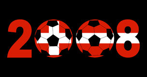 2008 with footballs and flags. 2008 with footballs and Swiss and Austrian flags illustration Stock Photography
