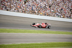 2008 Indy 500 Champion Scott Dixon. Scott Dixon drives his car thru turn 4 at the Indianapolis Motor Speedway on his way to winning the 2008 Indy 500 royalty free stock photo