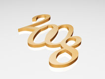 2008 isolated new. 3d golden boxes like figure in numerical 2008 with reflection royalty free illustration