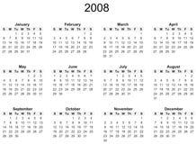 2008-Jahr-Kalender Lizenzfreies Stockfoto