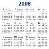 2008 kalendarzowego współczynnika square Obraz Royalty Free