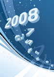2008 New Year Abstract backgro. Snowing background with 2008 digits on it - vertical illustration royalty free illustration