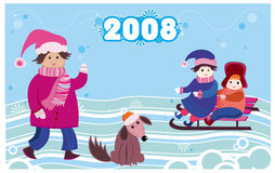 2008 new year card with kids. 2008 winter new year illustration of little children and cute dog Royalty Free Stock Image