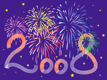 2008 new year celebration with fierworks Royalty Free Stock Photo