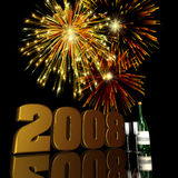 2008 New Year Fireworks. Fireworks displayed behind a 3D 2008 with reflections Royalty Free Stock Photo