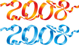 2008 niebieskiej czerwonym wstążek Fotografia Royalty Free