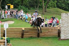 2008 Olympic Equestrian Events. Cook Kristina of Great Britain participates in Eventing Cross-Country, Olympic Equestrian Events August 11, 2008 in Hong Kong Stock Photos