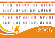 2008 orange rat calendar. Cute calendar for 2008. With rat character - symbol of the year Royalty Free Stock Images