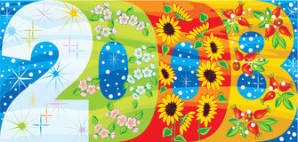 2008-seasons banner. Vector drawing of 2008 vibrant banner with each season demonstrated stock illustration