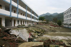 2008 Sichuan earthquake. Damage in southwest China caused by the May 2008 earthquake. The two school buildings were on the same level before the earthquake Stock Images