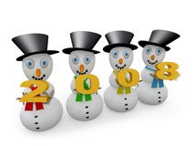 2008 Snowmen. Snowmen holding numbers which form the number 2008 Royalty Free Stock Photography