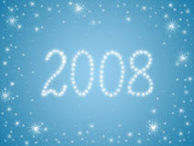2008 stars. 2008 drawn by white stars over light blue background Royalty Free Stock Photo