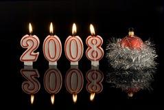 2008 stearinljus lyckligt nytt år Arkivbilder