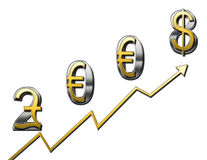 2008 stronger dollar. 2008 sign to indicate a rising and stronger dollar for the coming year vector illustration