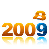 2008 to 09. Conceptual illustration of the turning of the year with 9 replacing 8 Royalty Free Stock Photography