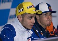2008 Valentino Rossi en Nicky Hayden Royalty-vrije Stock Fotografie
