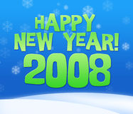 2008 year. Greeting card with snow fall Royalty Free Stock Photos