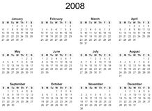 2008 Year calendar. Simple black and white against white background Royalty Free Stock Photo