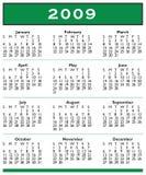 2009个日历一整年 皇族释放例证