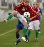 2009年冠军女性匈牙利意大利足球uefa 免版税库存照片