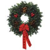 2009年圣诞节丝带文本花圈 库存照片