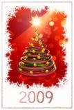 2009年圣诞节愉快的新的结构树年 库存照片