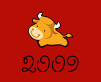 2009年招呼的黄牛年 库存照片