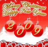2009年背景圣诞节愉快的快活的新年度 库存照片