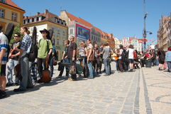 2009-05-01 World Guiness Record. People waiting for registration to take part in Guitar World Guiness Record beat in Wroclaw, Poland Royalty Free Stock Photography