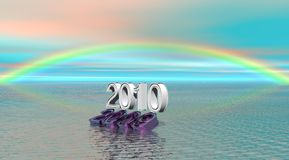 2009 and 2010. Under a landscape rainbow Stock Photography