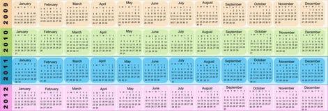 2009 2010 2011 2012 calendar Новый Год Стоковое фото RF