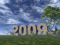2009. Rock on green field - 3d illustration Royalty Free Stock Photos