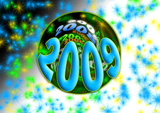 2009. New year 2009 blue special visual party with soft background and shiny lights Vector Illustration