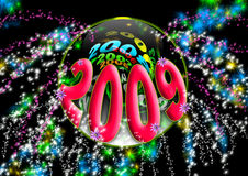 2009. New year 2009 red special visual party with black background and explosion of fireworks Vector Illustration