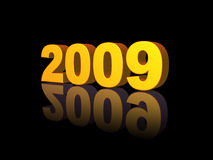 2009. Golden 2009 text on black background - 3d illustration Royalty Free Stock Photography