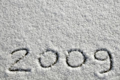 2009. Digits '2009' written on fresh snow stock image