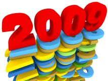 2009. 3d rendered wet 2009 sign on previous years signs Stock Image