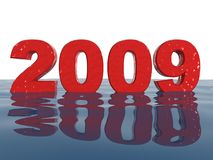 2009. 3d rendered wet 2009 sign in wavy water Stock Photography