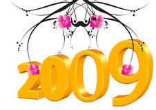 2009. Illustration drawing of floral design 2009 Stock Photo