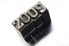 2009. Old lead letters forming 2009 Stock Image