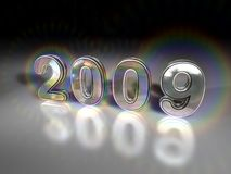 2009. A view of the three-dimensional metallic numbers representing the calendar year 2009 Royalty Free Stock Images