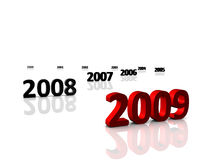 2009. 3D Render. New Year 2009 countdown to 2000 Royalty Free Stock Images
