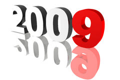 2009. Rendered 2009 numbers on a reflective surface vector illustration